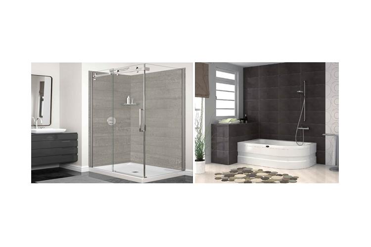 cabine de douche et baignoire